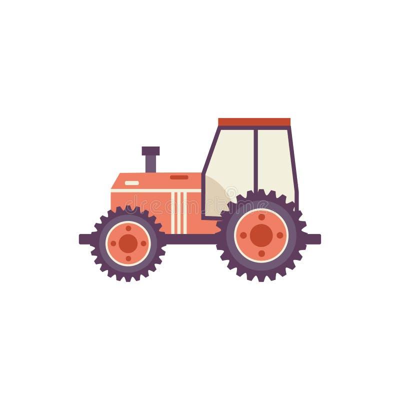 Roter landwirtschaftlicher Traktor lokalisiert auf weißem Hintergrund lizenzfreie abbildung
