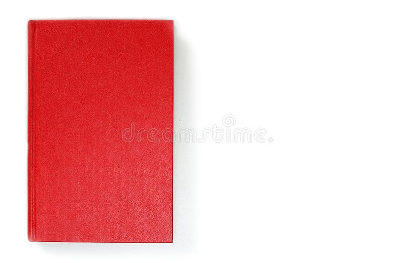 Roter lederner Bucheinband des freien Raumes, Vorderseitee Ansicht Leerer Spott der gebundenen Ausgabe oben, lokalisiert auf weiß stockbilder