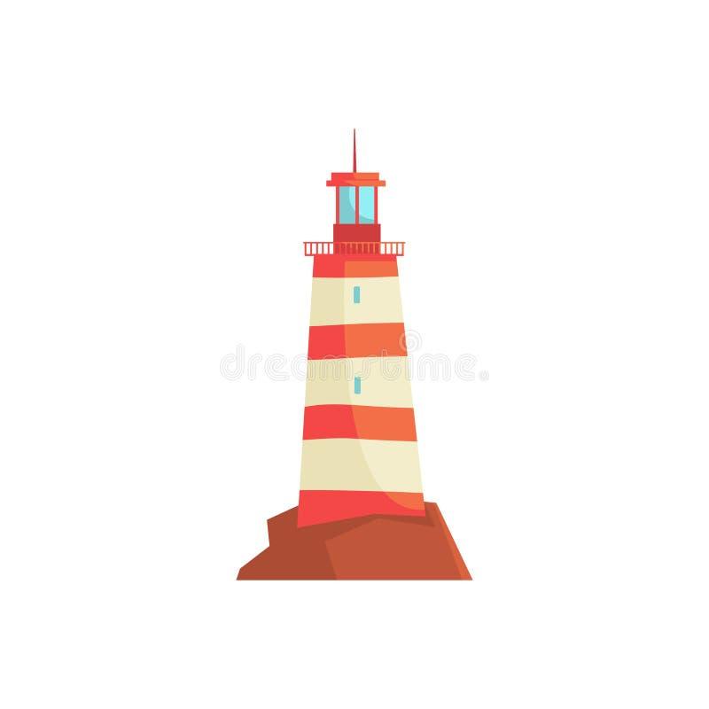 Roter Leuchtturm, Scheinwerferturm für Seeschifffahrtanleitungsvektor Illustration lizenzfreie abbildung