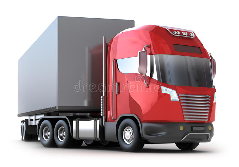 Roter LKW mit Behälter stock abbildung