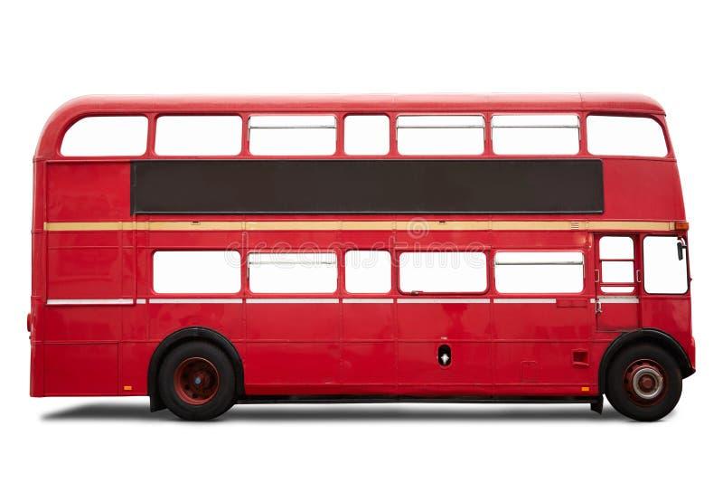 Roter London-Bus, Doppeldecker auf Weiß lizenzfreie stockbilder