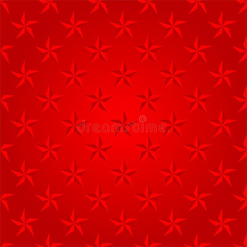 Roter Luxushintergrund mit roten glänzenden Sternen in Folge nebeneinander und unter ihnen lizenzfreie abbildung