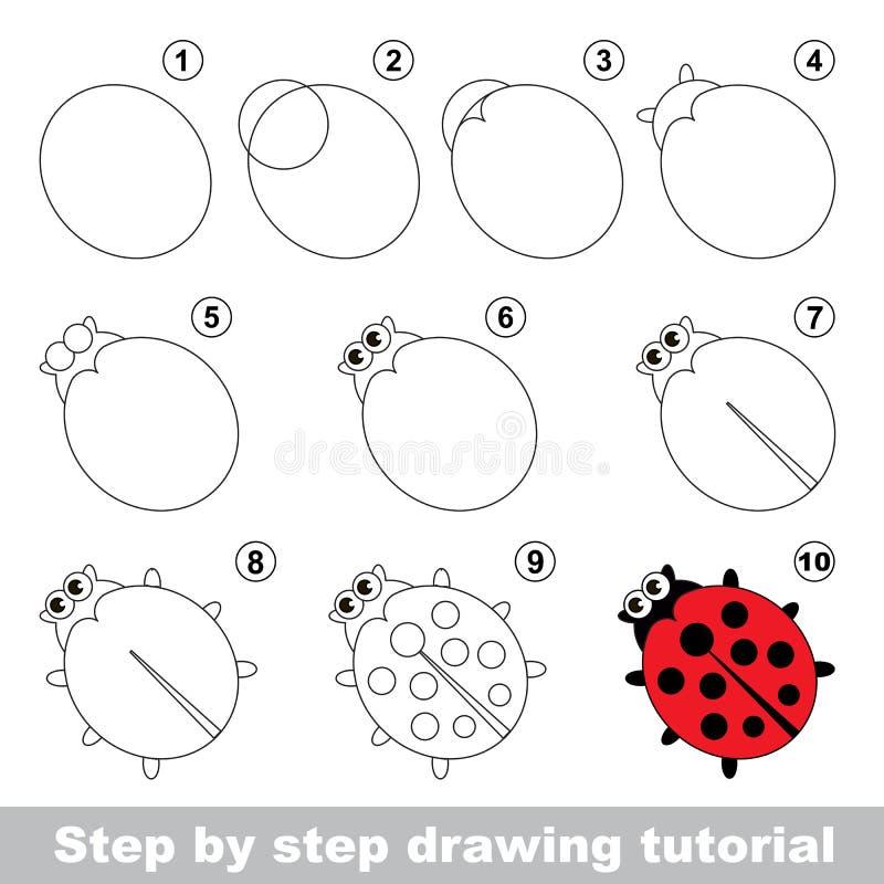 Roter Marienkäfer Zeichnendes Tutorium lizenzfreie abbildung