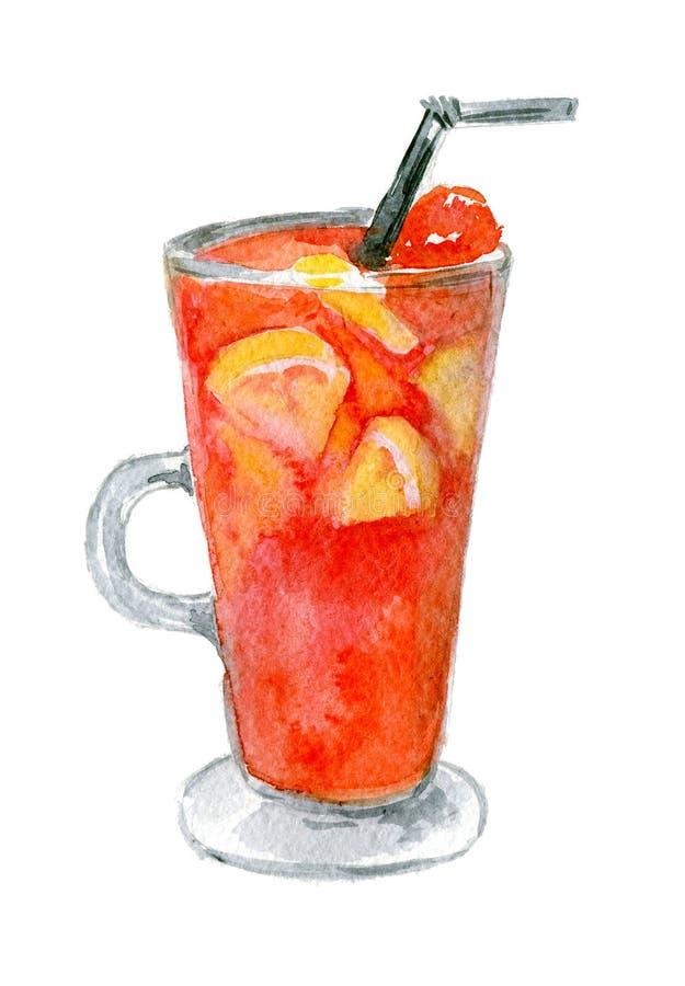 Roter Maulwein mit Orangen in einem großen Glas, mit Erdbeeren dekoriert Aquarellbilder in weißer Farbe stockfotografie