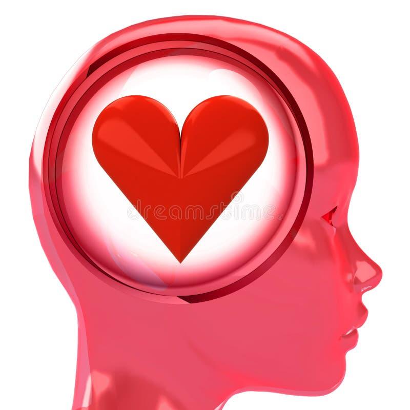 Roter menschlicher Kopf mit Gehirnwolke mit Liebesherzen nach innen stock abbildung