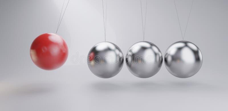 Roter metallischer silberner Hintergrund des Chroms 3d-illustration des Pendels lizenzfreie abbildung