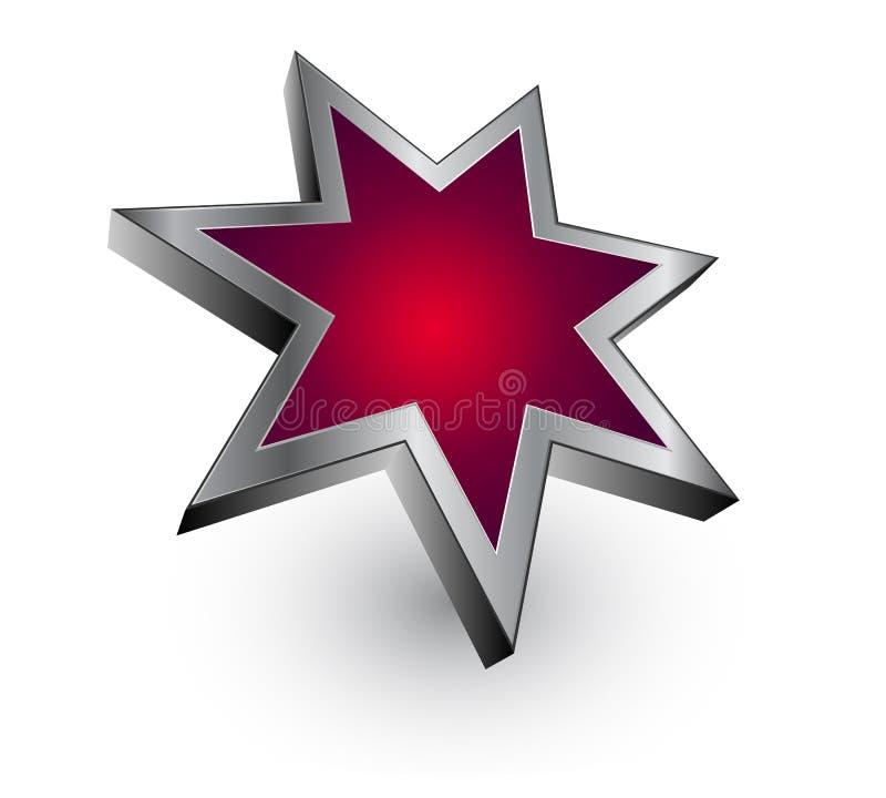 Roter metallischer Stern des Zeichens - Vektor stock abbildung