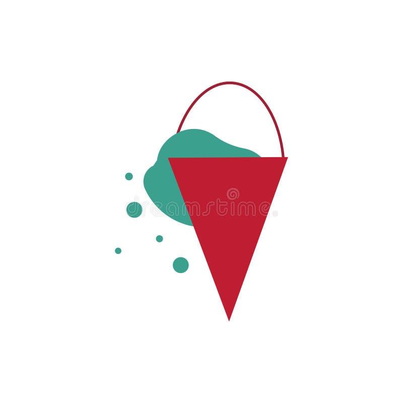 Roter Metallkegeleimer mit der wasser- feuerlöschenden Notausrüstung lokalisiert auf weißem Hintergrund vektor abbildung