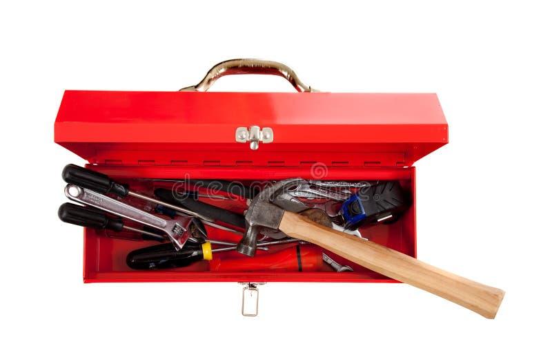 Roter Metallwerkzeugkasten mit Hilfsmitteln stockbild