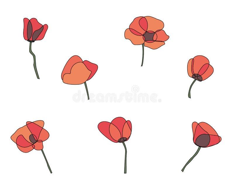 Roter Mohnblumenblumen-Vektorsatz stockfoto