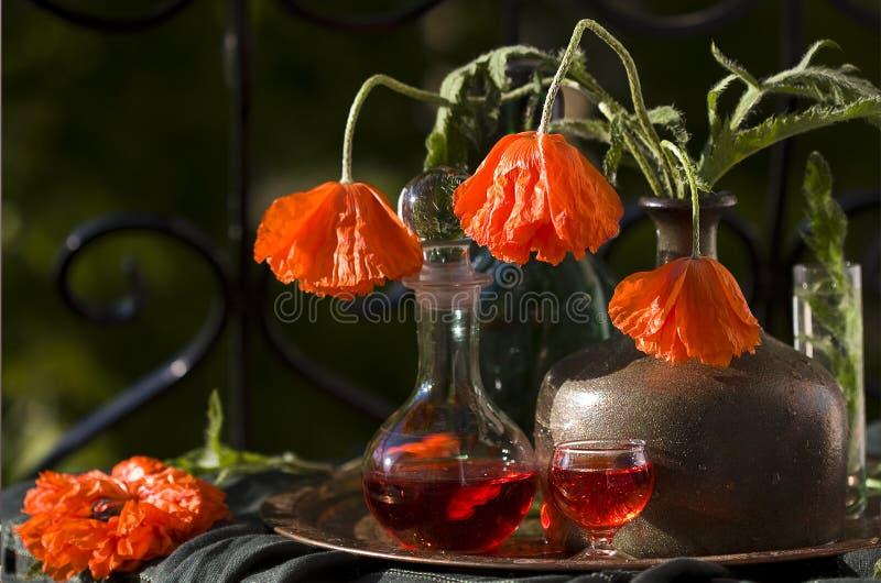 Roter Mohnblumenblumenstrauß, Stillleben stockbild