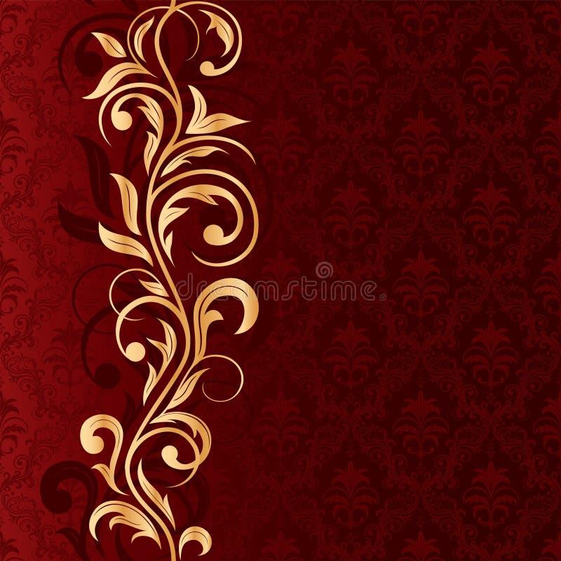 Roter nahtloser Hintergrund mit Goldmuster lizenzfreie abbildung
