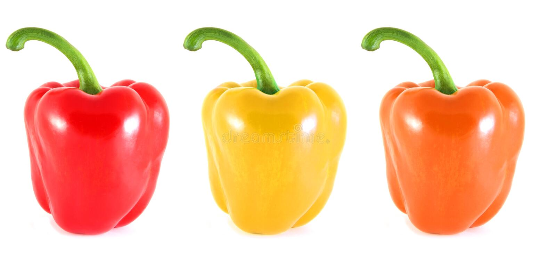 Roter, orange und gelber Pfeffer. 3 in 1. lizenzfreies stockbild