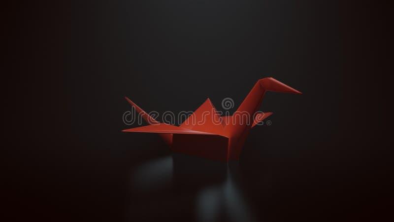 Roter Origami tapeziert Kran auf einem schwarzen Hintergrund mit Spitze hinunter Beleuchtung vektor abbildung