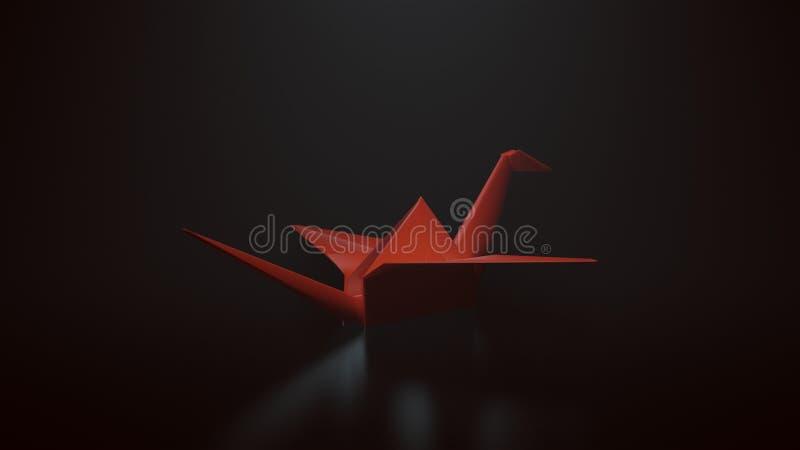 Roter Origami tapeziert Kran auf einem schwarzen Hintergrund mit Spitze hinunter Beleuchtung stockfotografie