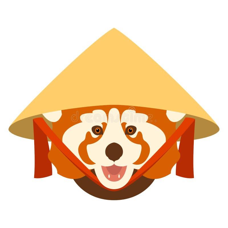 Roter Panda mit alter chinesischer konischer Strohhutvektorillustration stock abbildung