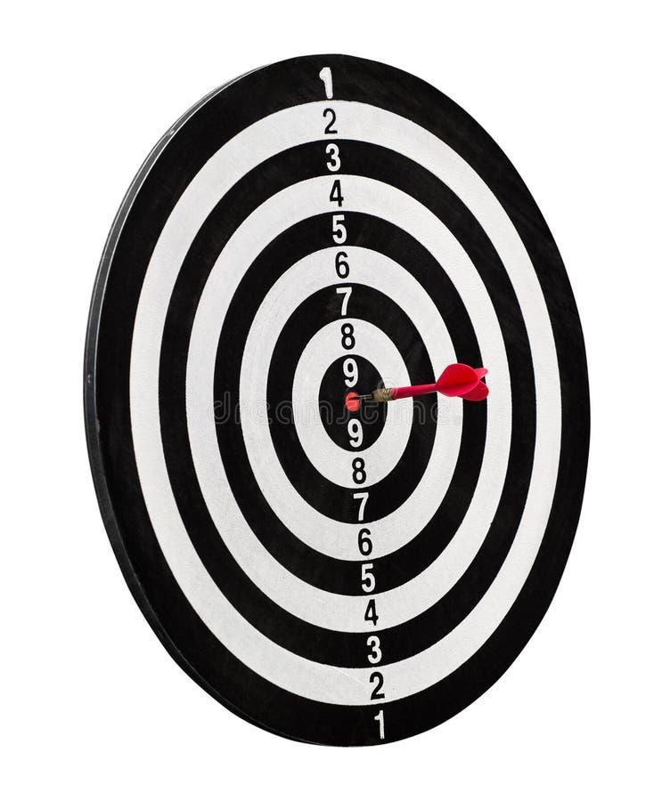 Roter Pfeil in der Mitte des Ziels stockfoto