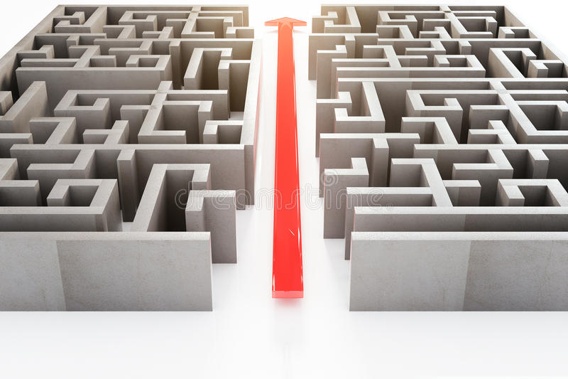 Roter Pfeil durch Labyrinth vektor abbildung
