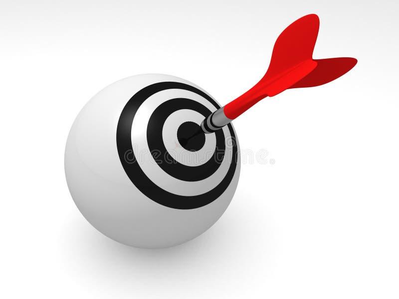 Roter Pfeilpfeil, der eine Zielkugel auf Weiß schlägt stock abbildung