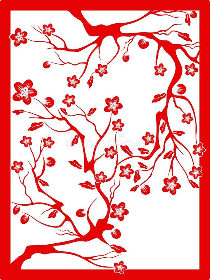 Roter Pflaumenblütepapierschnitt vektor abbildung