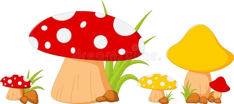 Roter Pilz mit Gras lizenzfreie abbildung