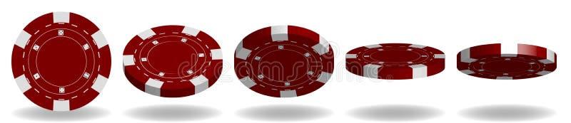 Roter Poker Chips Vector realistischer Satz 3D Flip Different Angles vektor abbildung