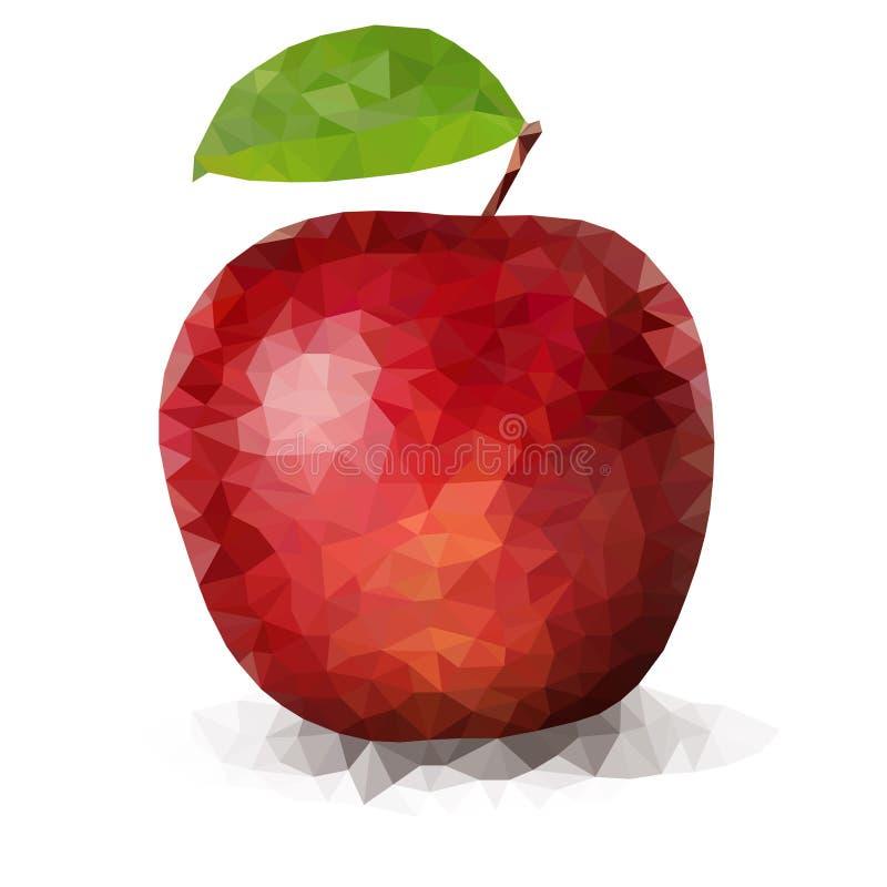 Roter polygonaler Apfel des Vektors stock abbildung