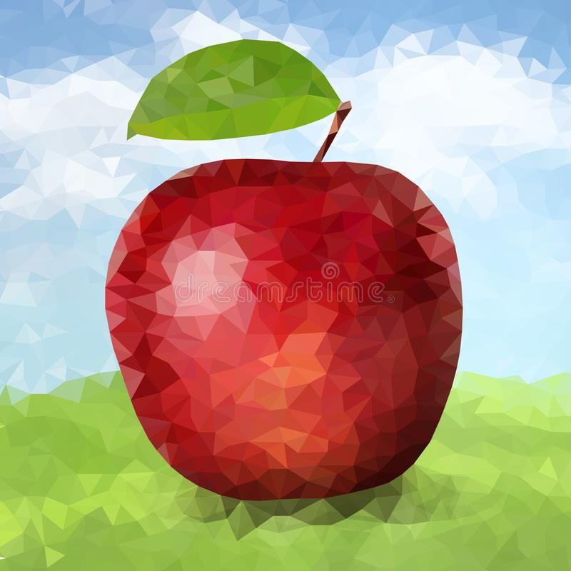 Roter polygonaler Apfel des Vektors lizenzfreie abbildung