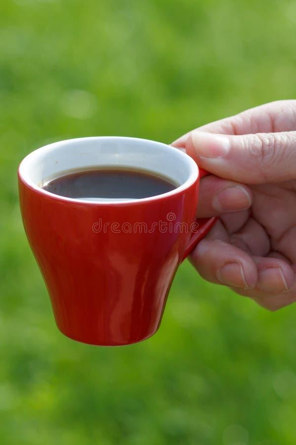 Roter Porzellantasse kaffee in der weiblichen Hand mit gr?nem Gras auf dem Hintergrund stockbilder