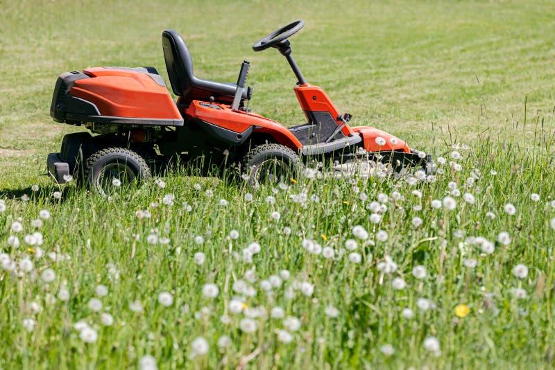Roter Rasenmäher, der grünes Gras im Garten schneidet Grasschneider O lizenzfreies stockfoto