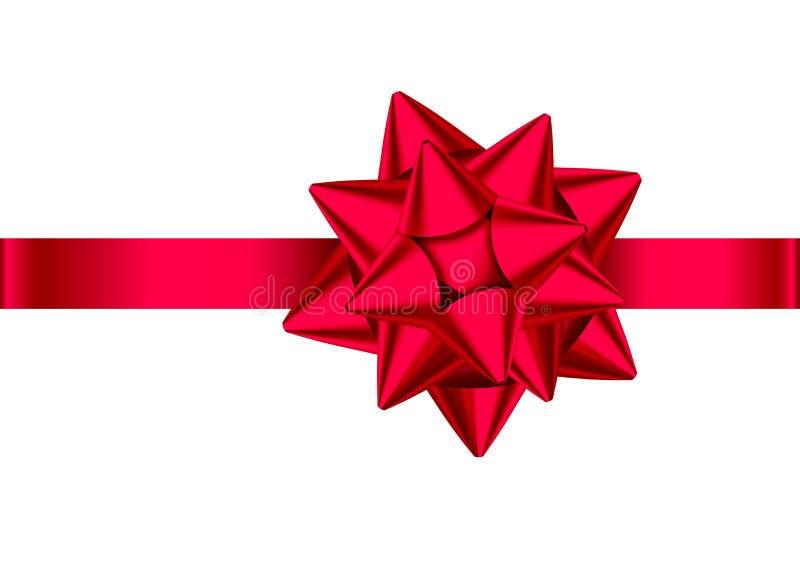 Roter realistischer Geschenkbogen mit horizontalem Band vektor abbildung