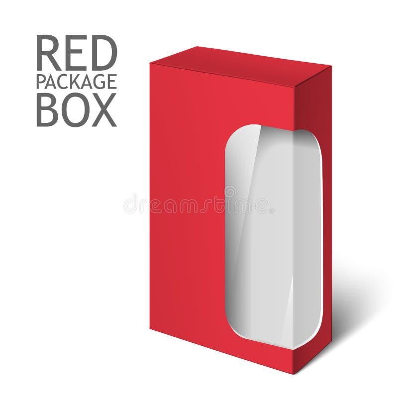 Roter realistischer Kasten Modell-Schablone stock abbildung