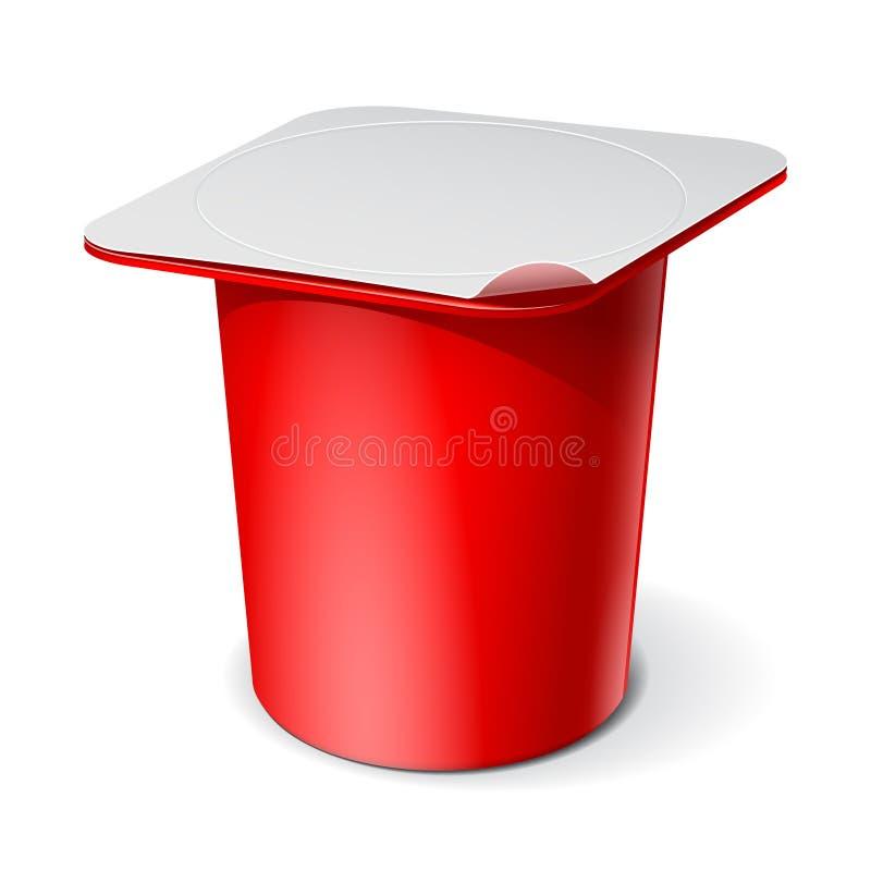 Roter realistischer Plastikbehälter für Jogurt. Vektor vektor abbildung