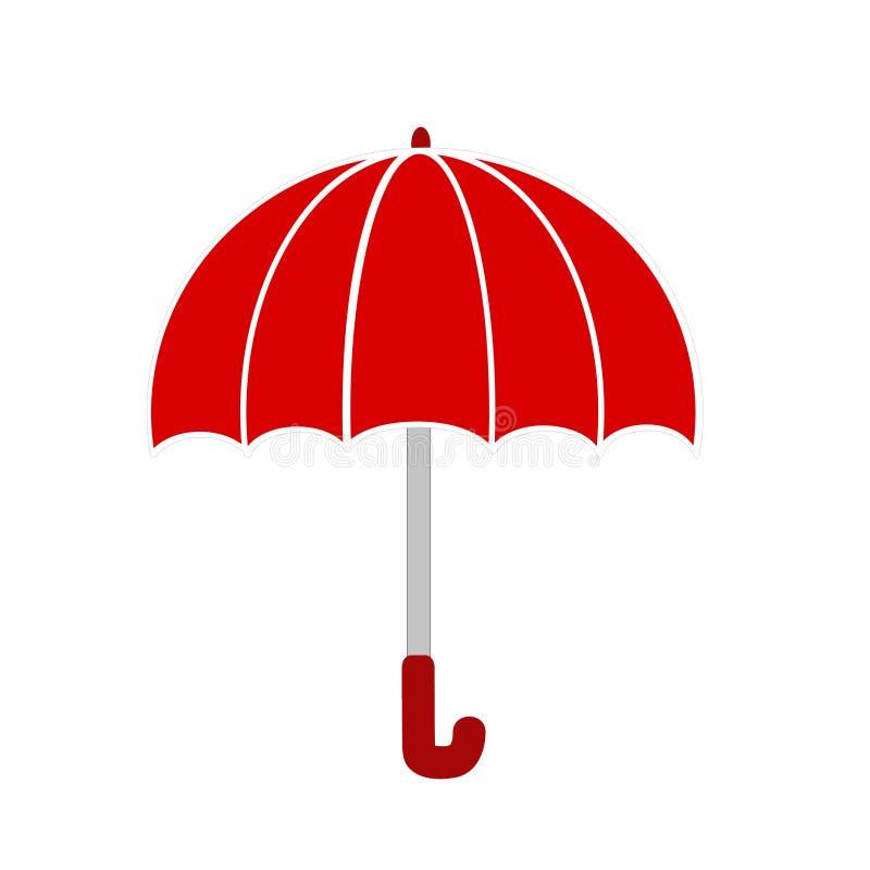Roter Regenschirm auf Weiß, Vektorillustration auf Lager stock abbildung