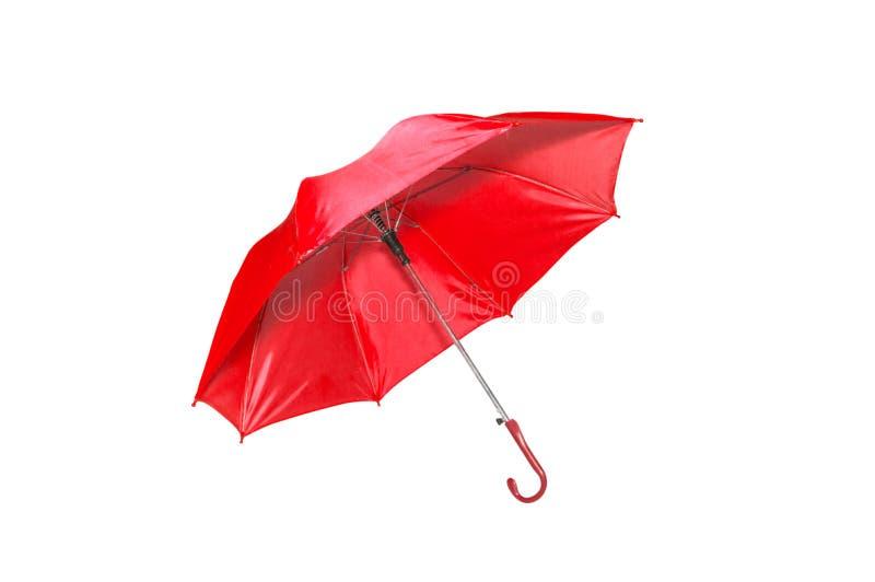 Roter Regenschirm getrennt auf Weiß lizenzfreie stockfotos