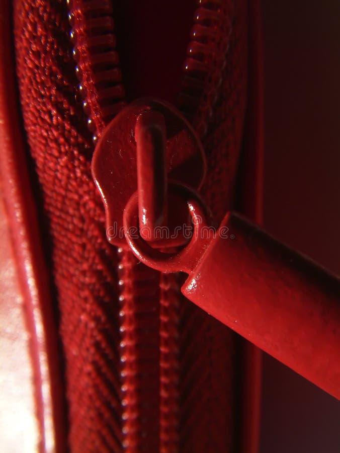 Roter Reißverschluss Stockfoto