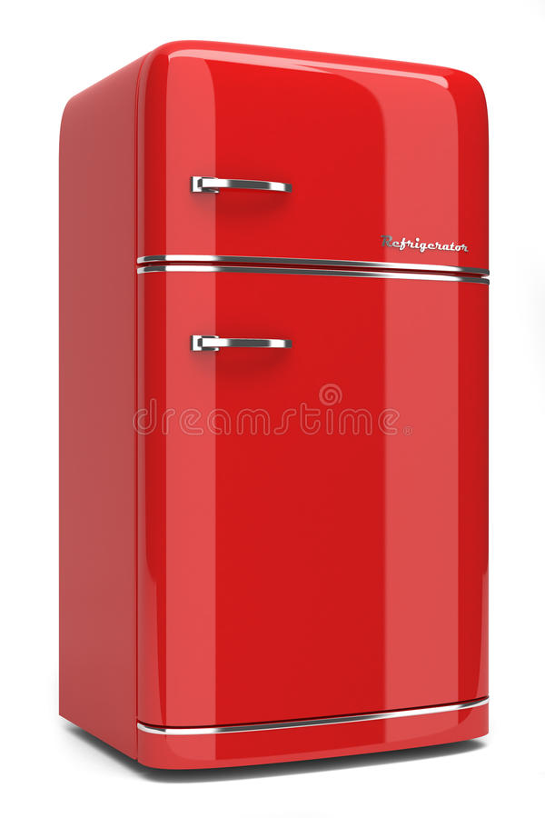 Roter Retro- Kühlschrank lizenzfreie abbildung