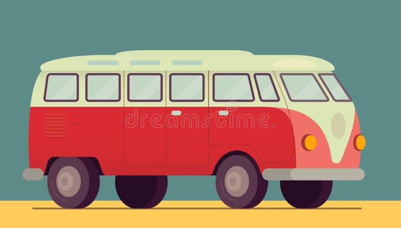 Roter Retro- Packwagen Motor- 1950-1970, Siebziger, Sechziger Auf dem Strandsand Sommer, Hippielebensstilauto Auch im corel abgeh lizenzfreie abbildung
