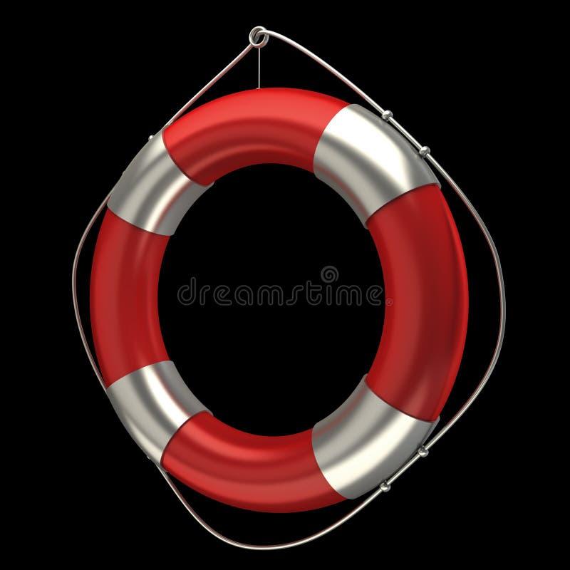 Roter Rettungsgürtel getrennt auf Schwarzem lizenzfreie abbildung