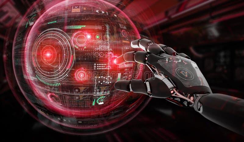 Roter Roboter, der eine Wiedergabe der KugelSystemschnittstelle 3D zerhackt lizenzfreie abbildung