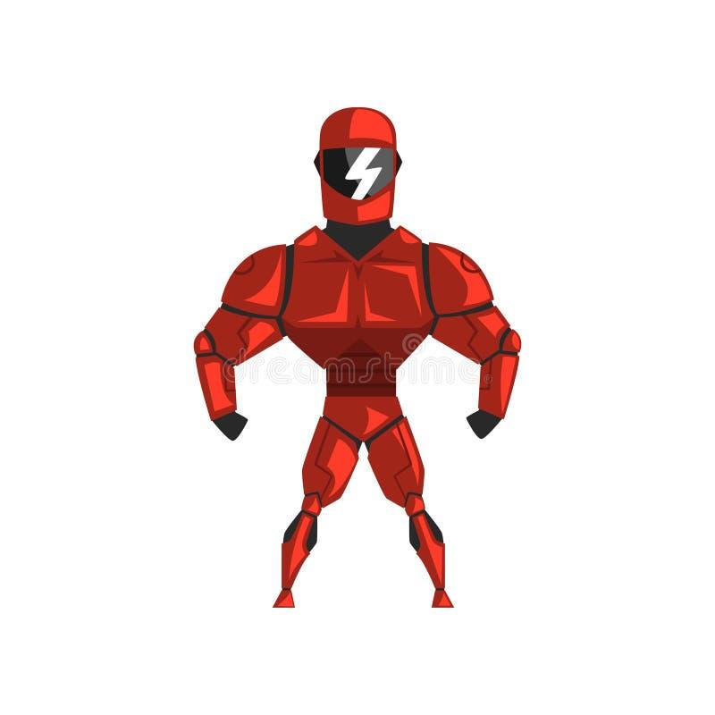 Roter Roboter Spacesuit, Superheld, Cyborgkostüm-Vektor Illustration auf einem weißen Hintergrund vektor abbildung