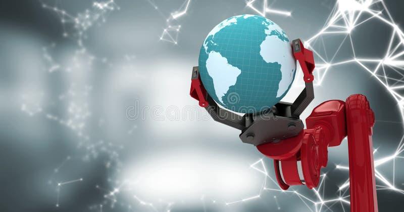 Roter Robotergreifer mit Kugel und weißer Schnittstelle gegen undeutlichen grauen Raum lizenzfreie abbildung