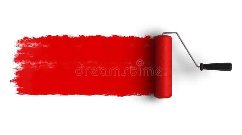 Roter Rollenpinsel mit Spur des Lackes