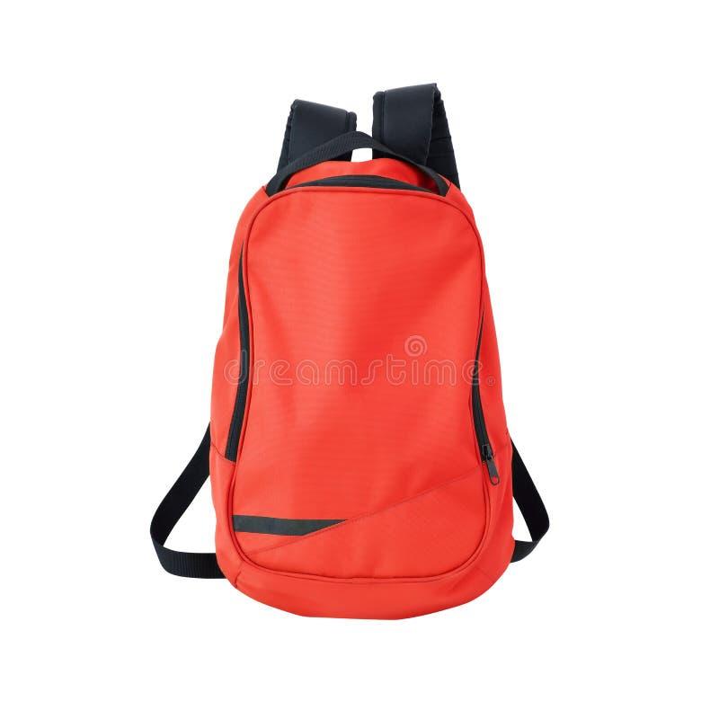 Roter Rucksack lokalisiert mit Weg lizenzfreie stockfotos