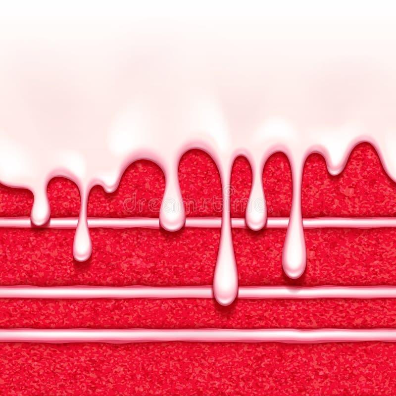 Roter Samtschwammkuchenhintergrund Bunte nahtlose Beschaffenheit stock abbildung
