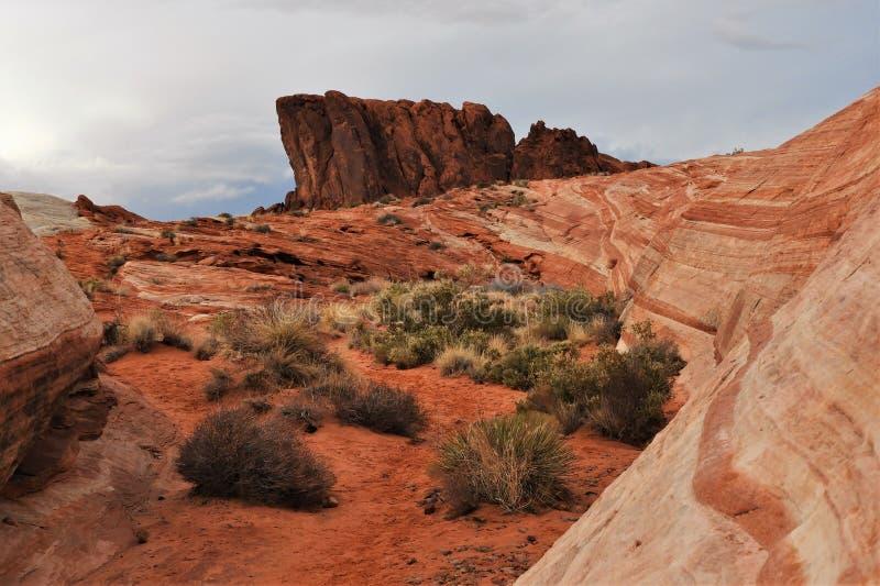 Roter Sandstein Felsenbildung im Feuertal lizenzfreies stockbild