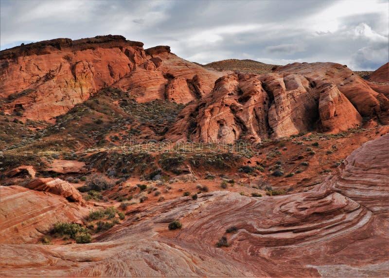 Roter Sandstein Felsenbildung im Feuertal stockfotografie