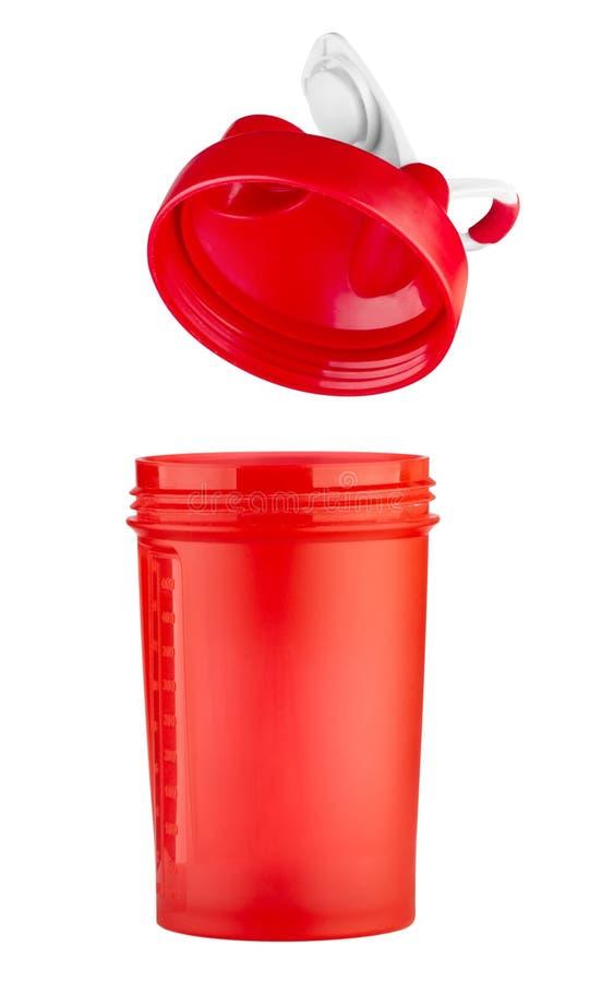Roter Schüttel-Apparat für Sportnahrung mit einem offenen Deckel lizenzfreie stockfotos