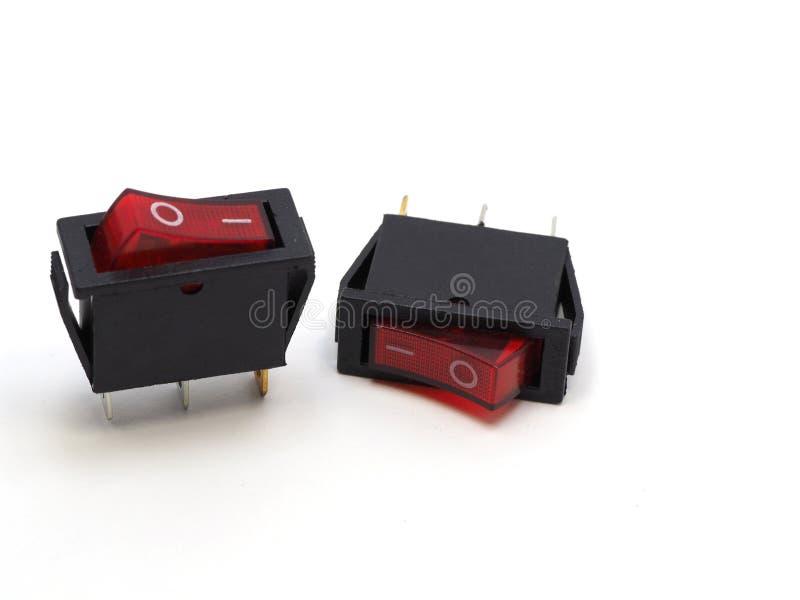 Download Roter Schalter Auf Dem Lokalisierten Hintergrund Stockfoto - Bild von energie, technologie: 90225604