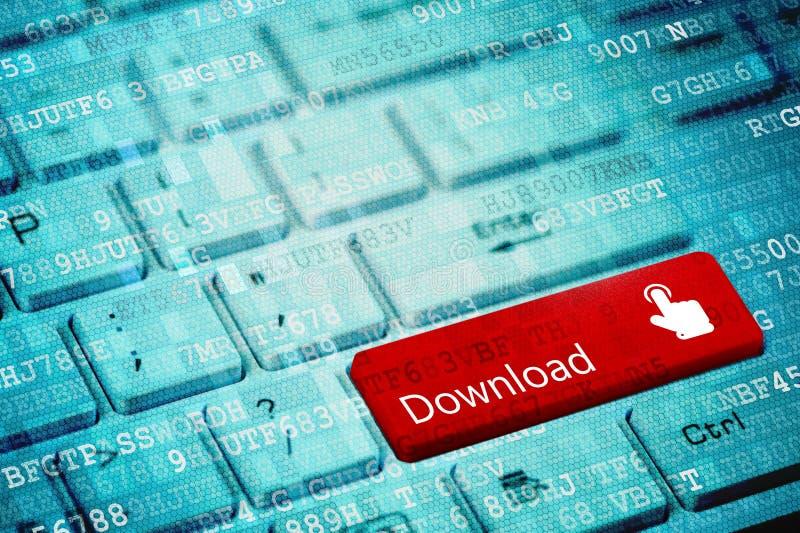 Roter Schlüssel mit Text Download und Finger drücken Ikone auf weißer Laptoptastatur lizenzfreie stockfotografie